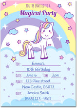 30 Unicorn Birthday Invitations with Envelopes - Kids Magical Birthday Party Invitations for Girls