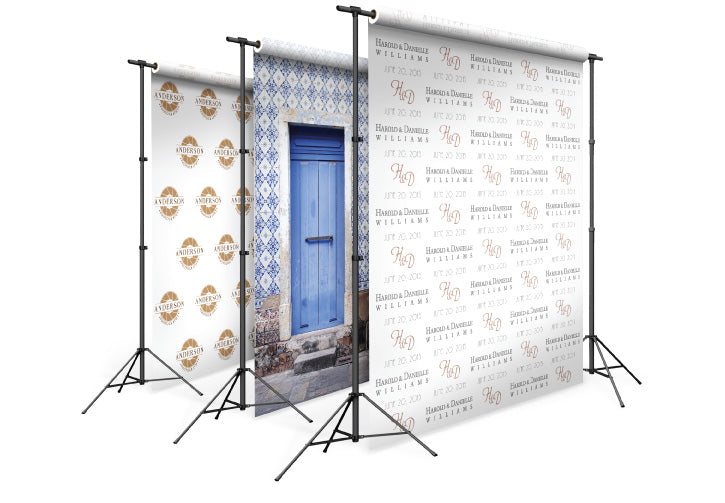 custom backdrops hanging on a stand