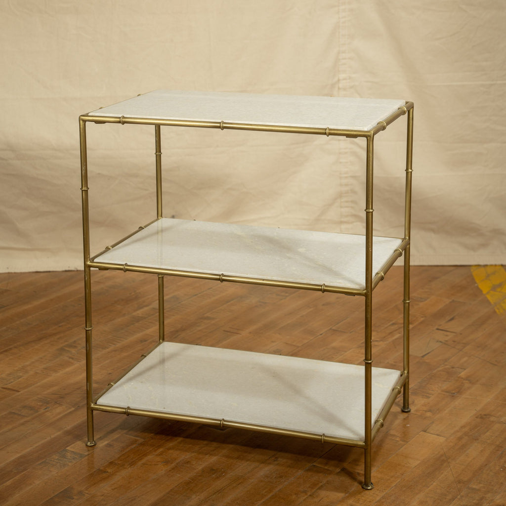 Iron + Marble Side Table #5, Brass - Royal Circus
