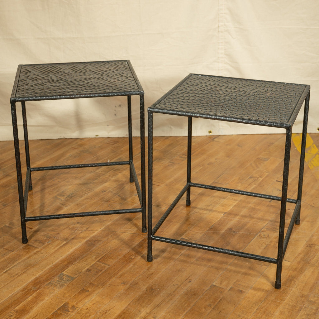 Small Iron Nesting Table, Antique Black