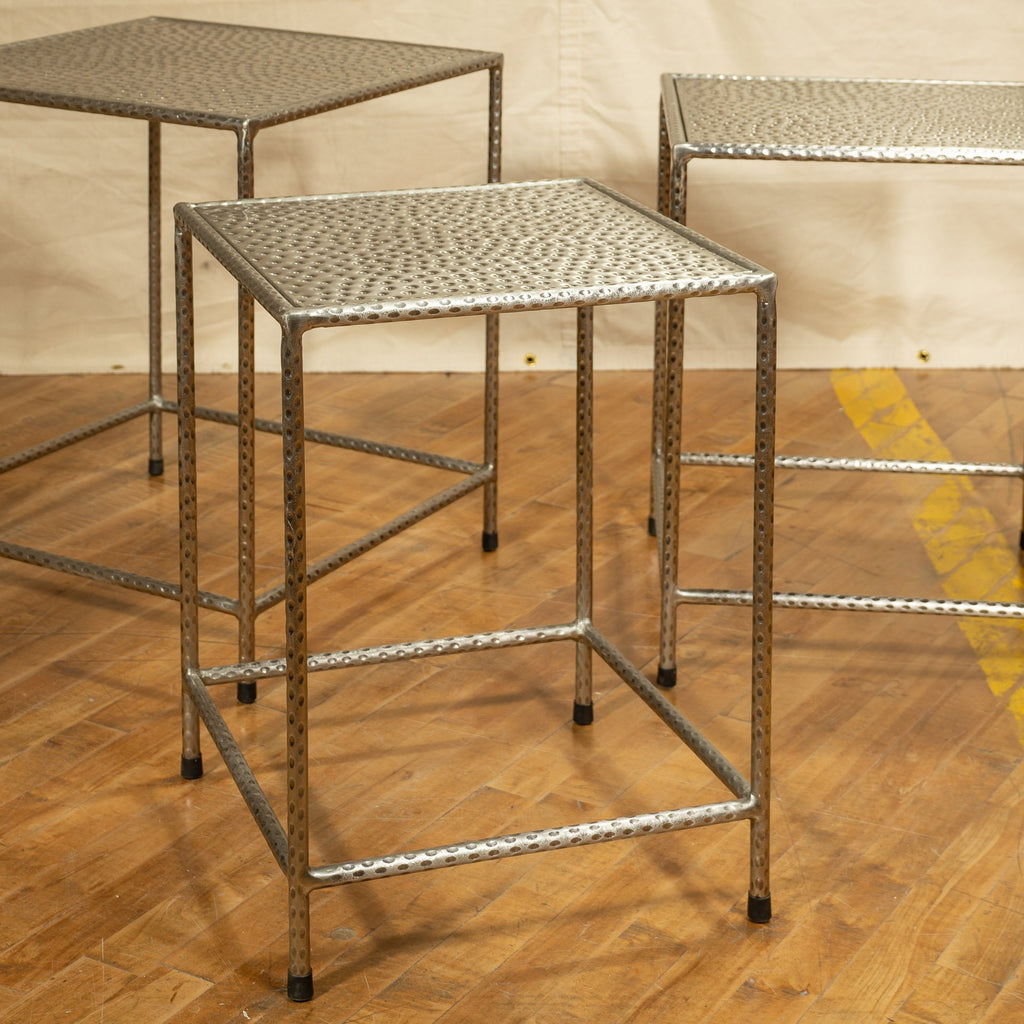 Small Iron Nesting Table, Antique Nickel