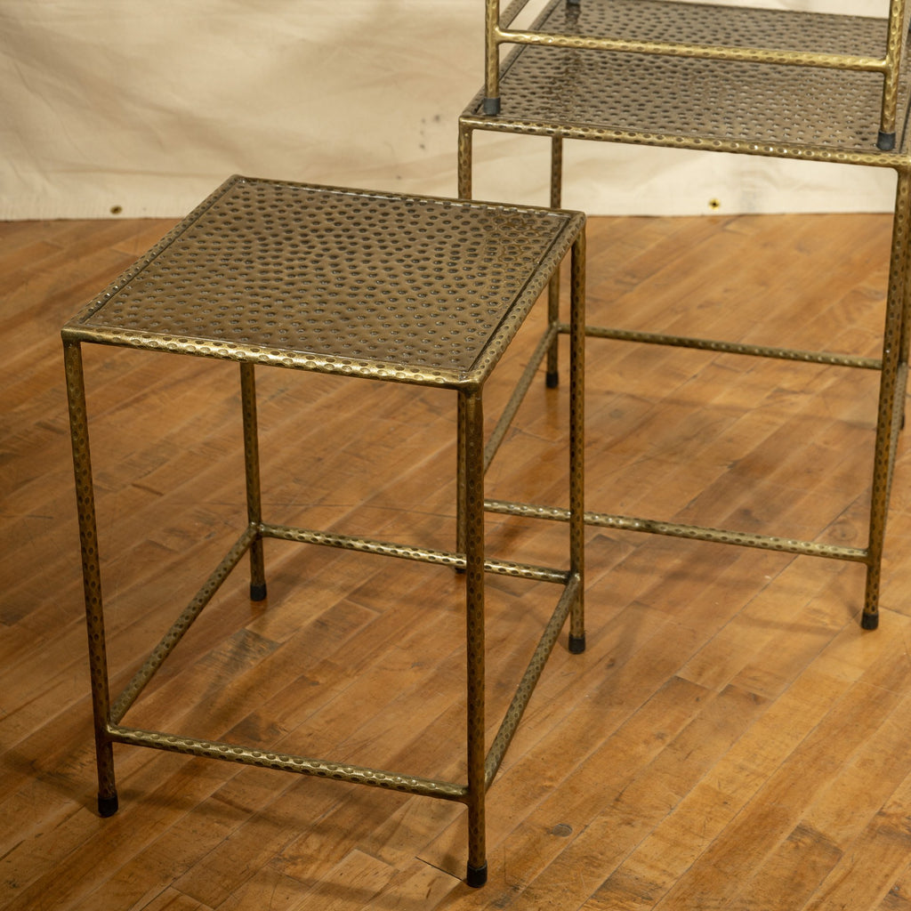 Small Iron Nesting Table, Brass
