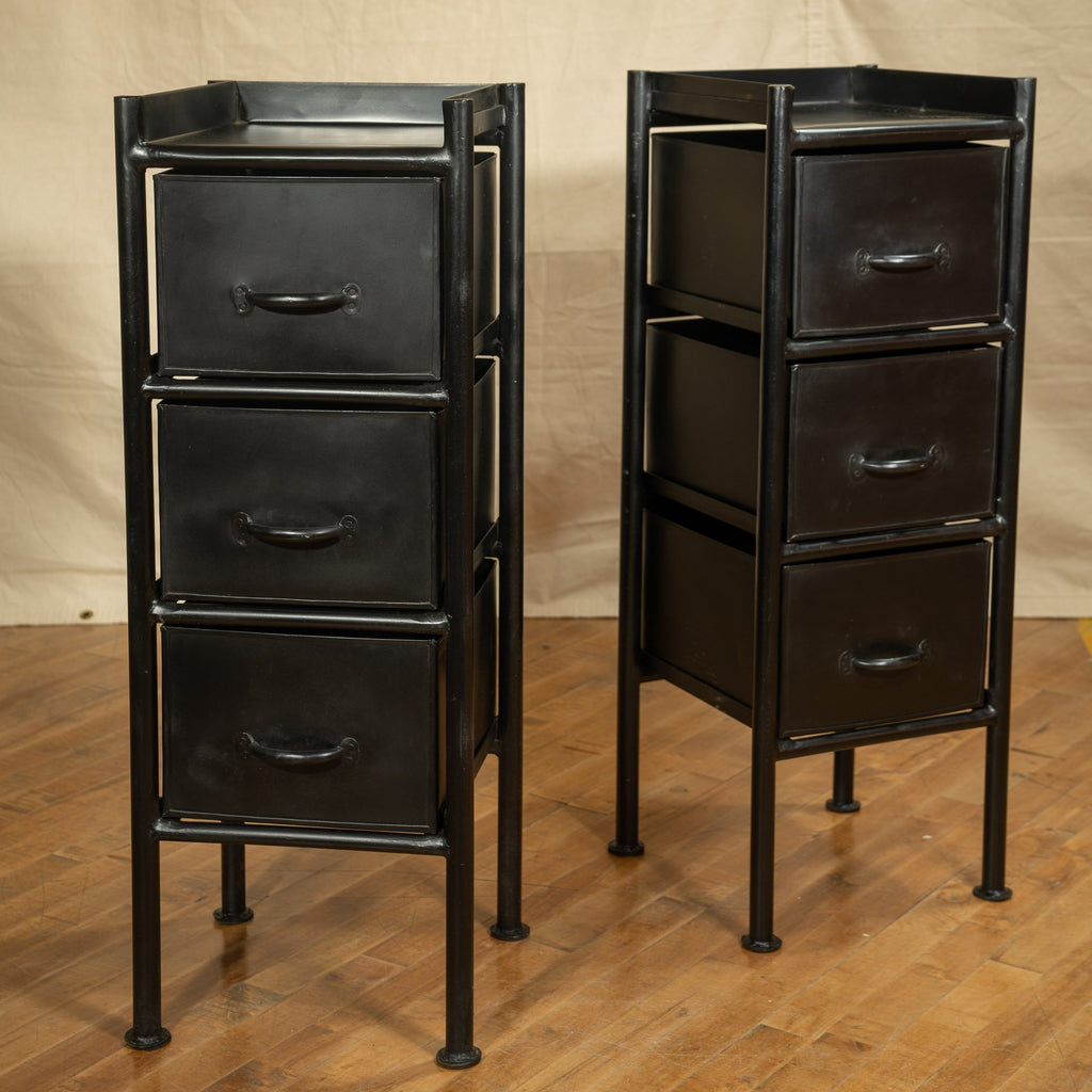 3 Drawer Industiral Side Table, Black - Royal Circus