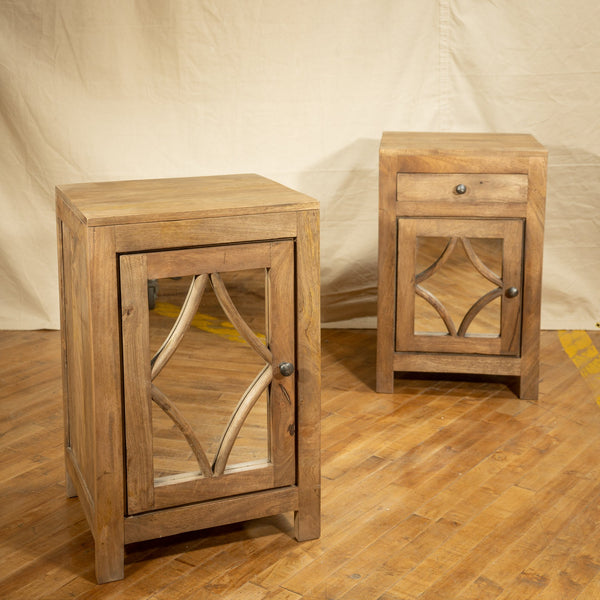 Mirrored Side Cabinet, Light Bleach