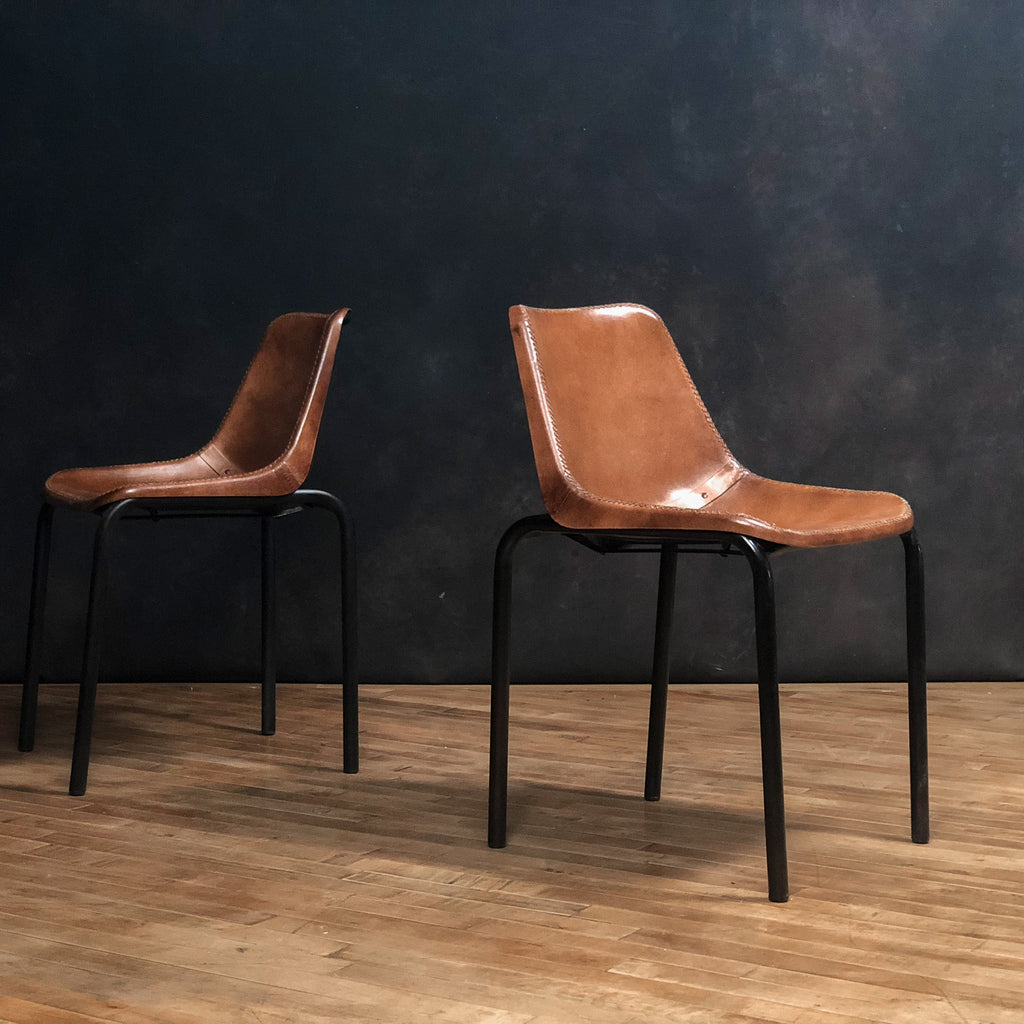 Simple Leather Chair, Brown - Royal Circus