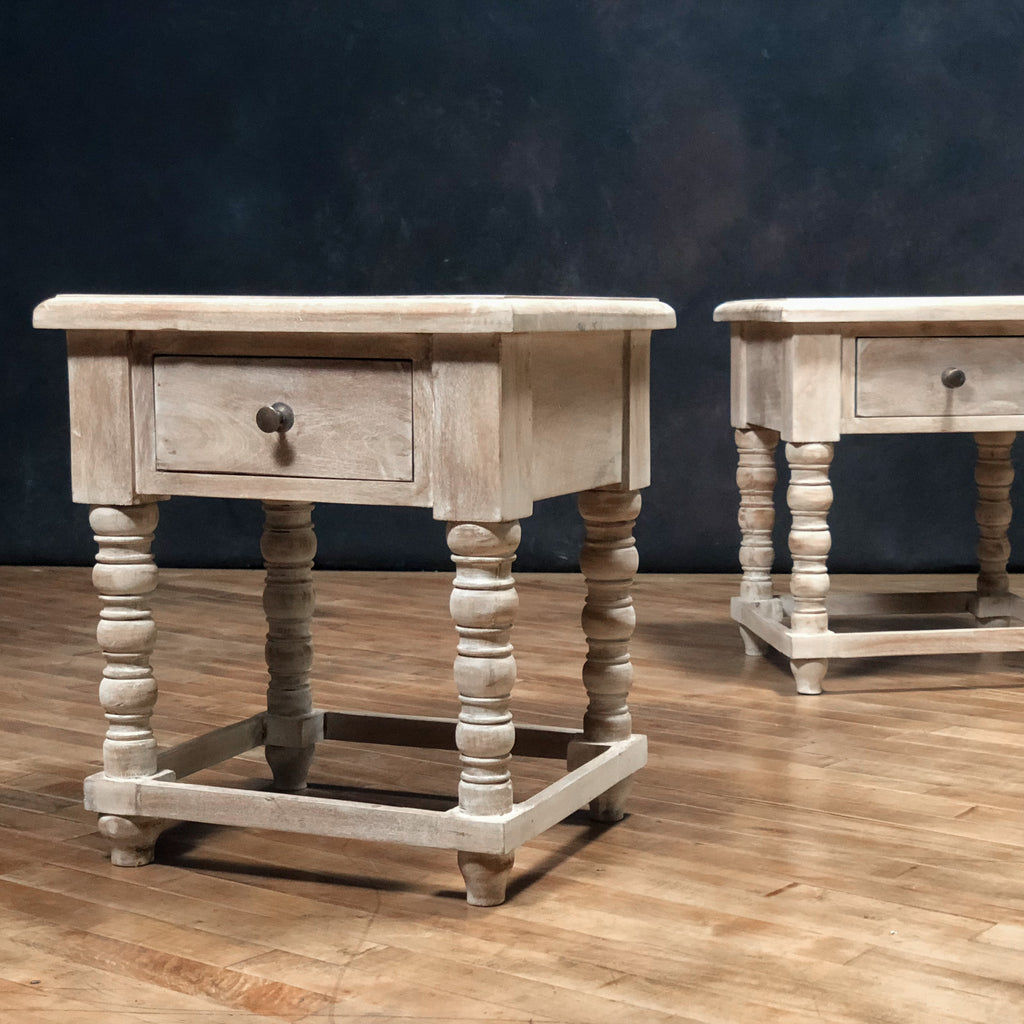 Wooden Side Table #1, White Wash_Royal Circus