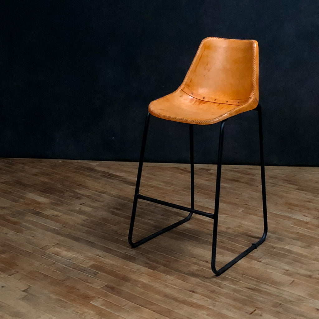"Simple Leather Stool 24"", Brown"
