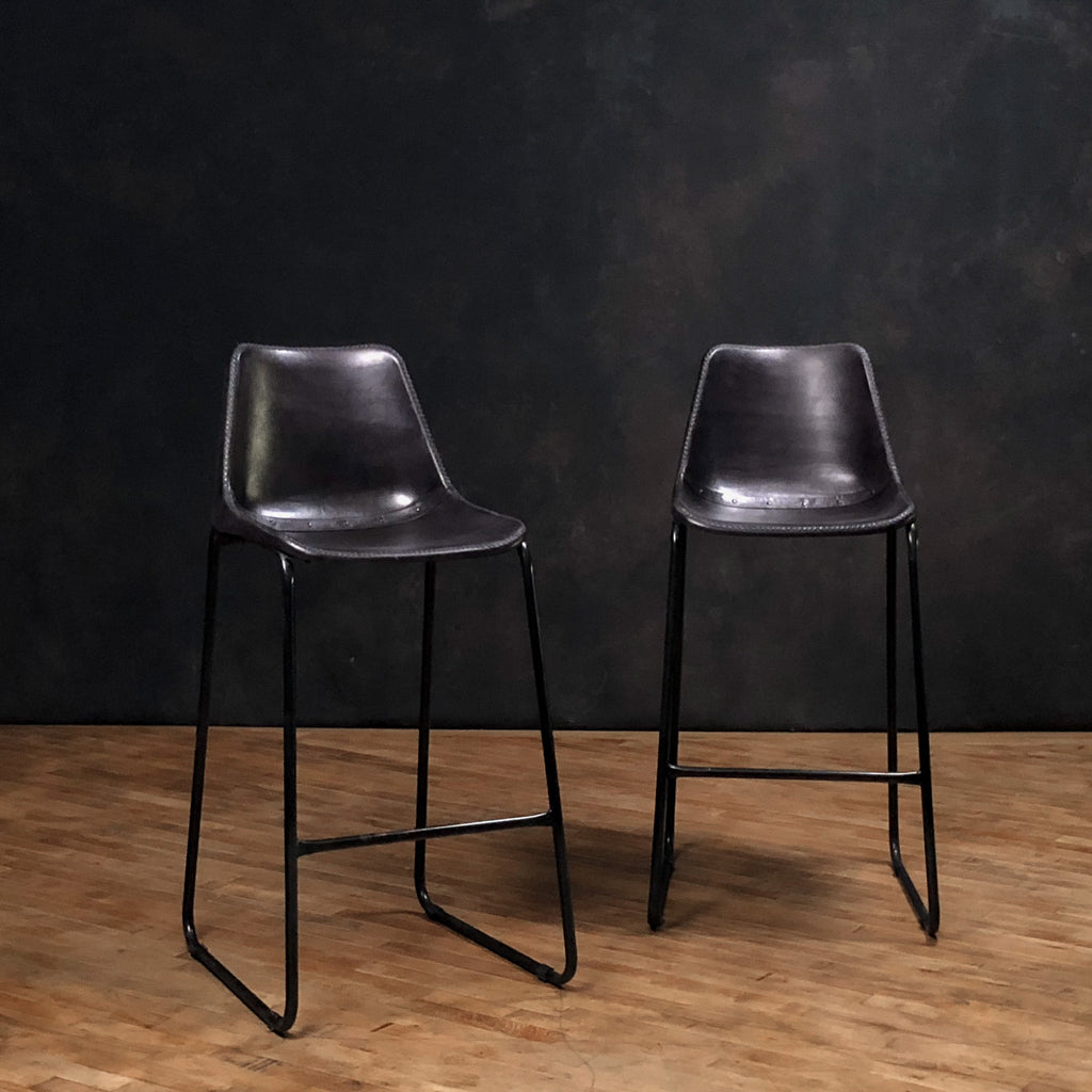 "Simple Leather Stool 31"", Black"