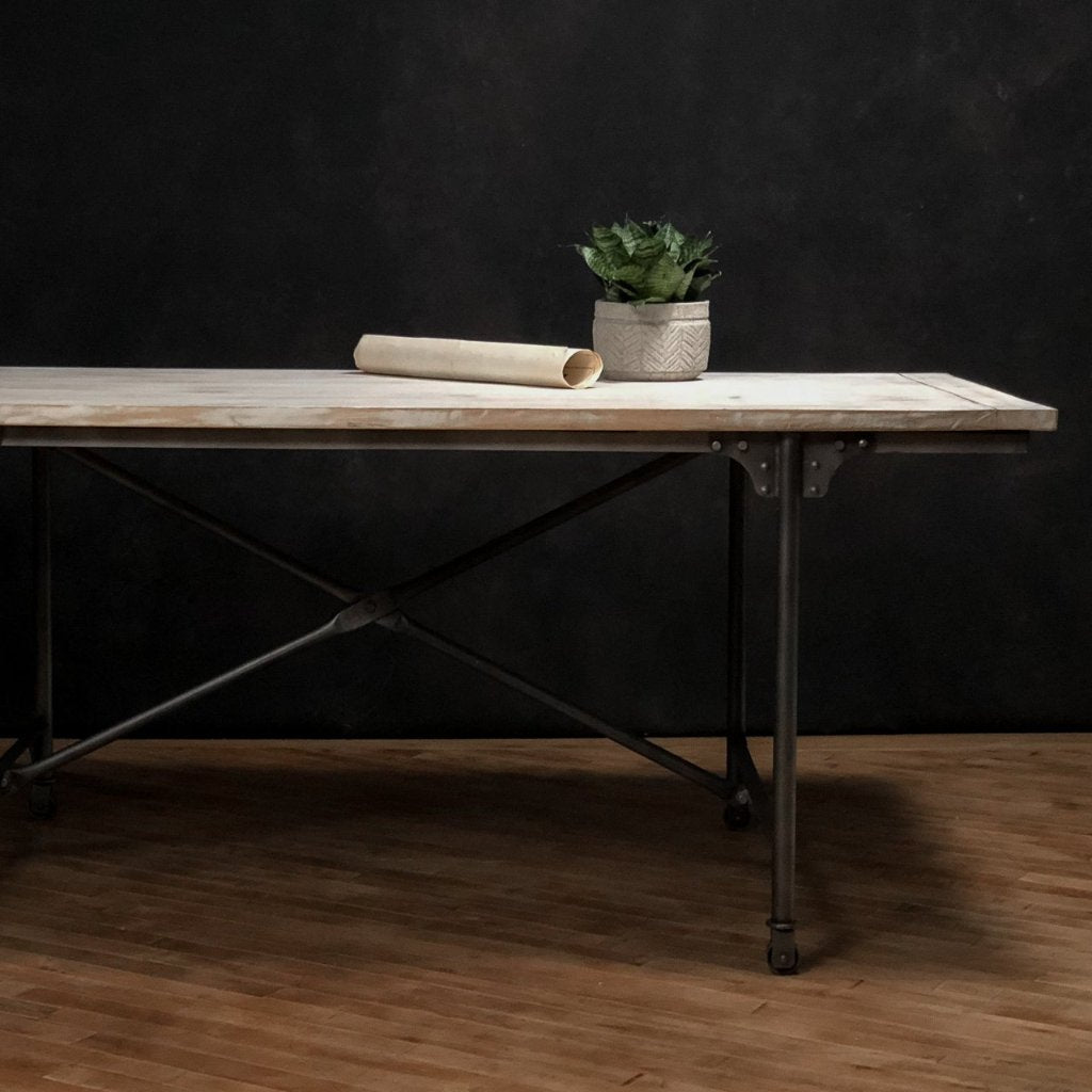 Iron + Wood Dining Table #3, Black with Natural Top - Royal Circus