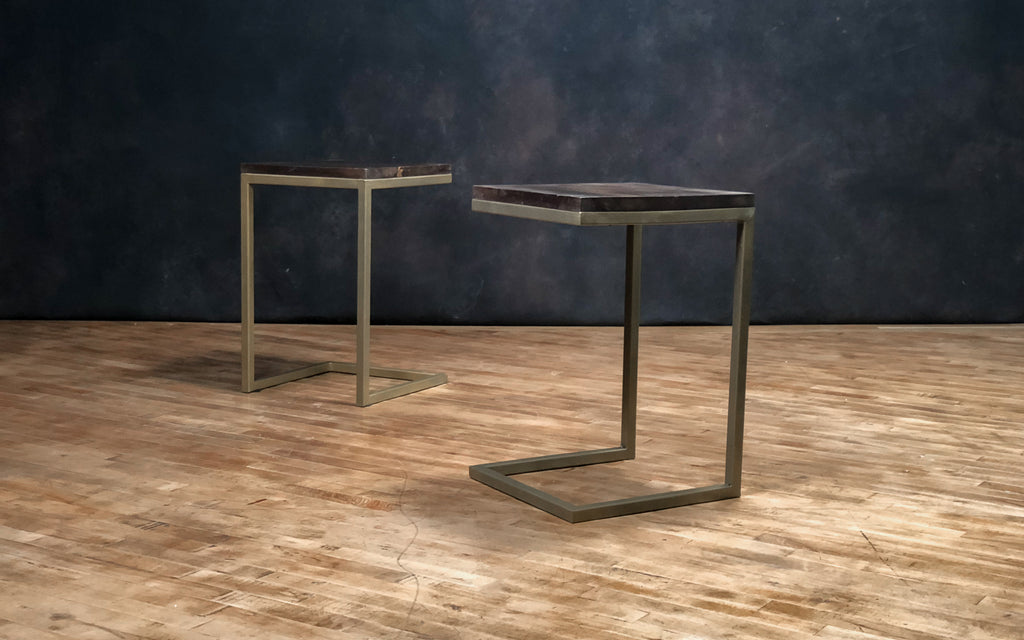 Brass + Wood Side Table - Royal Circus