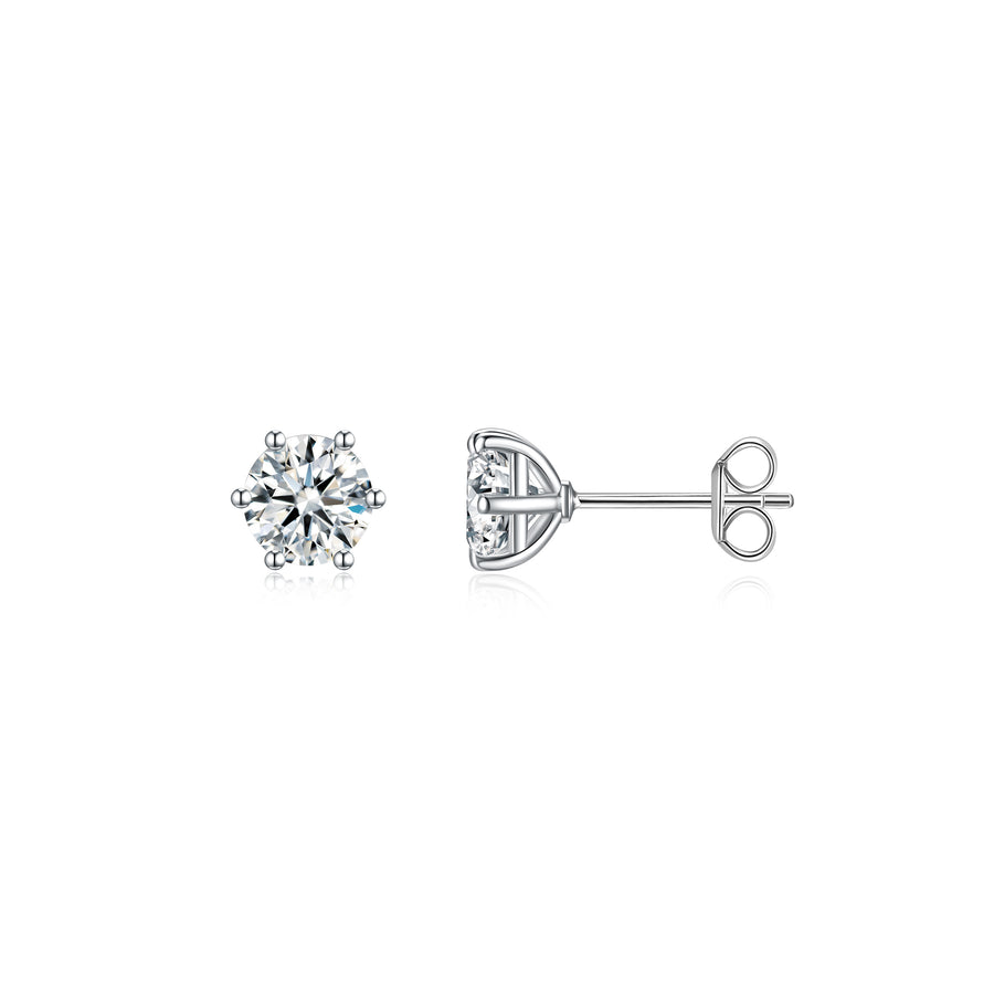 6 Prong Solitaire Ear Studs