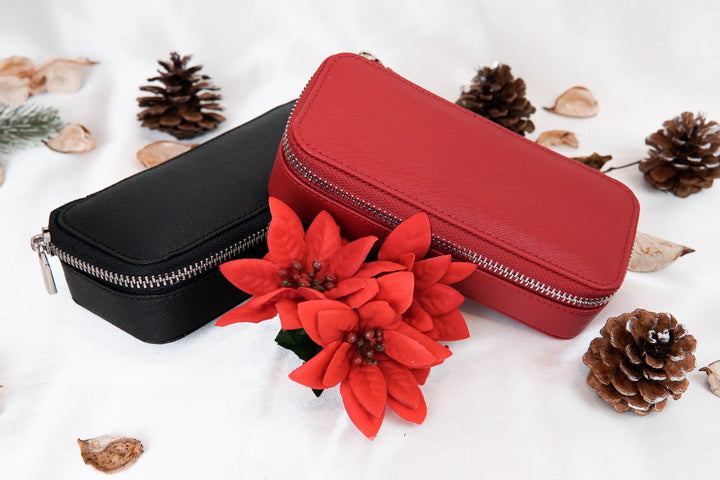 Jewellery Travel Case (Red and Black with flowers)