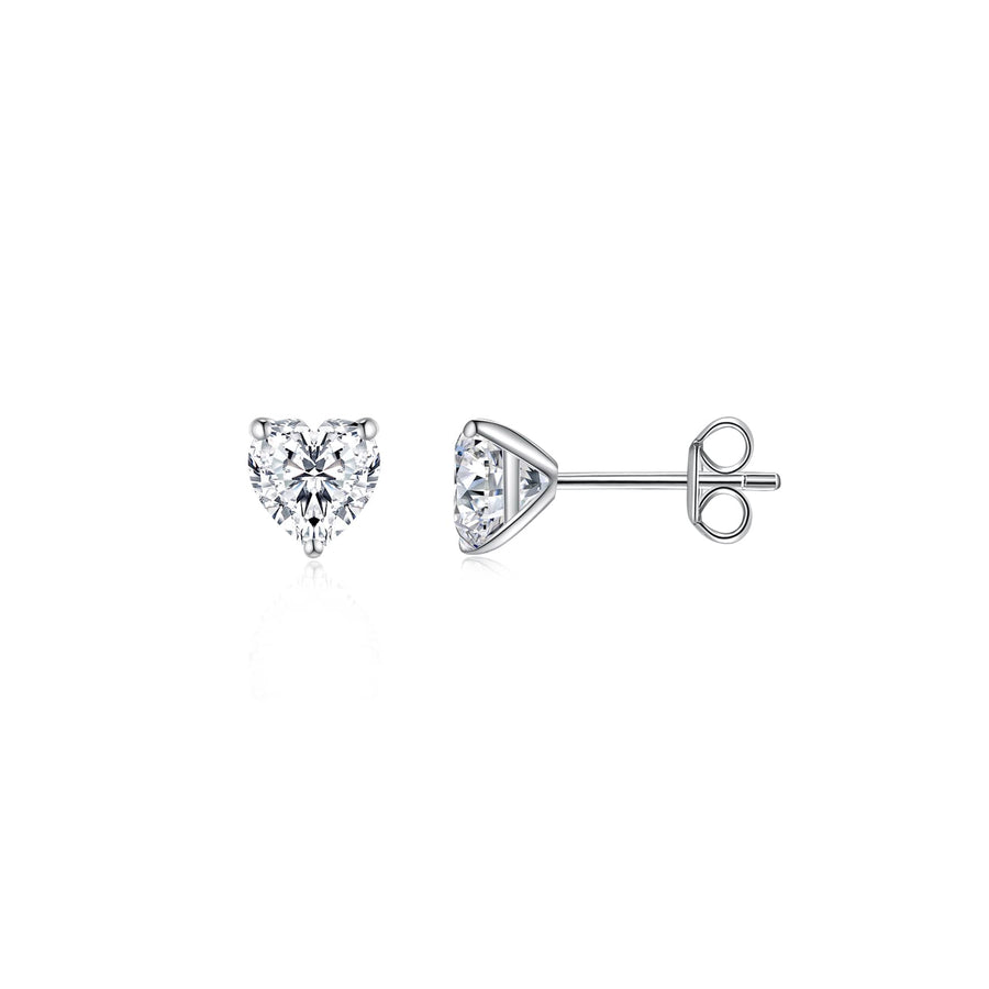 Heart Solitaire Ear Studs