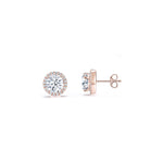 Round Halo Earstuds in 18K Rose Gold