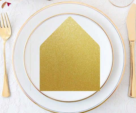 Gold Glitter Envelope Liner for A7 Envelopes-Logie Paperie Shop