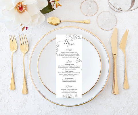 Wedding Guest Menu Printable Template