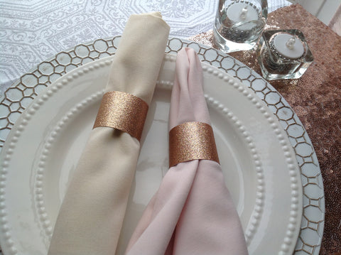 Rose Gold Glitter Napkin Rings-Logie Paperie Shop