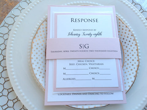 Modern Elegant Wedding Invitation, Blush Pink and White-Logie Paperie Shop
