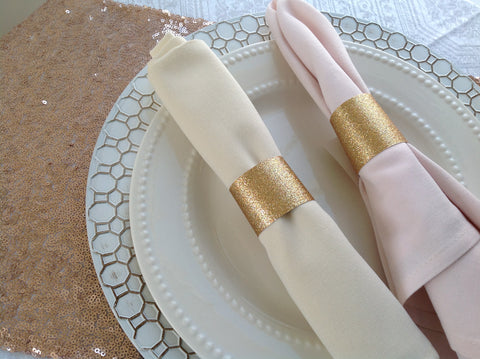 Gold Glitter Wedding Napkin Rings-Logie Paperie Shop