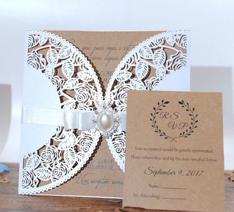 Laser Cut Wedding Invitation Kit-Logie Paperie Shop