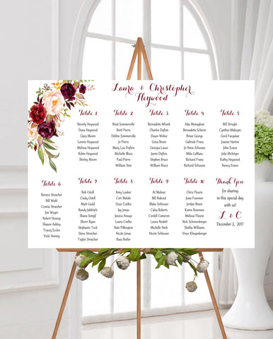 Wedding Seating Assignment Chart