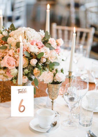 Rose gold table numbers by logie paperie