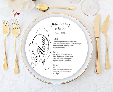 Gold Round wedding menu card