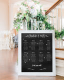 Chalkboard wedding seating chart by logie paperie