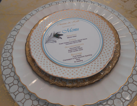 Peacock Feathers Circle Plate Menu Card-Logie Paperie Shop