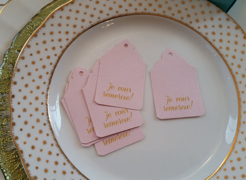 Blush Pink French Favor Tag, Je Vous Remercie-Logie Paperie Shop