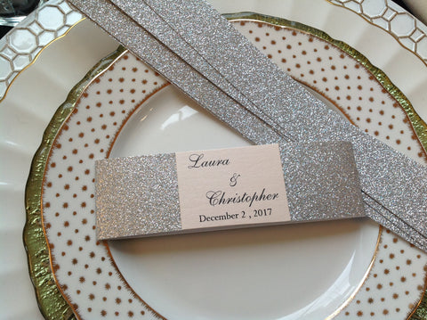 Glitter Wedding Invitation Belly Band with Personalized Monogram-Logie Paperie Shop