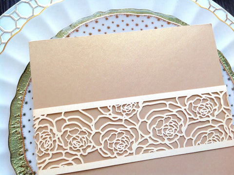 Ivory Laser Cut Rose Design Invitation Belly Band-Logie Paperie Shop