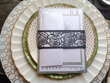 Black Laser Cut Rose Wedding Invitation Belly Band-Logie Paperie Shop