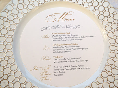 Round Charger Menu Card | Circle Menu Cards-Logie Paperie Shop