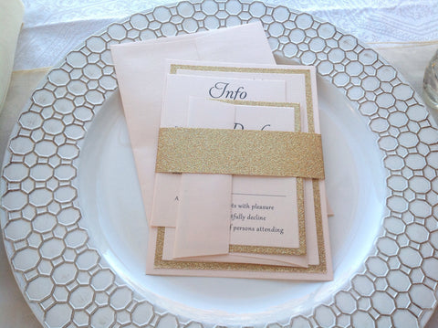 Blush and Gold Glitter Wedding Invitation Set-Logie Paperie Shop