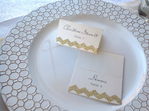 Wedding Place Cards, Chevron Gold Glitter Escort Cards-Logie Paperie Shop