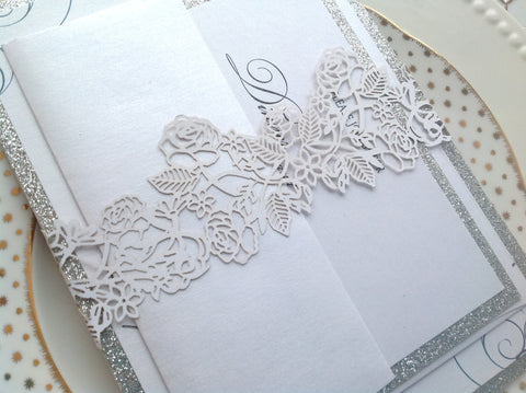 White Laser Cut Wedding Invitation Belly Band-Logie Paperie Shop