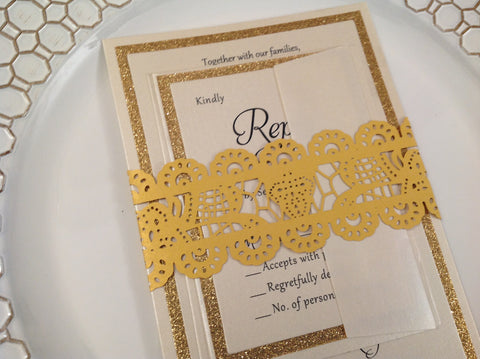Gold Laser Cut Invitation Belly Band Lace Design-Logie Paperie Shop