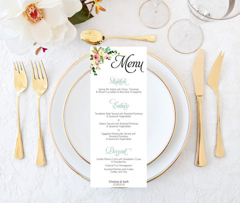 Wedding Menu Card Template | Download, Edit and Print-Logie Paperie Shop