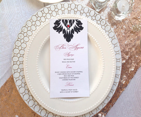 Damask Wedding Menu Card