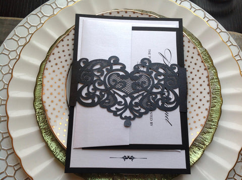 Black Laser Cut Heart Invitation Belly Band-Logie Paperie Shop