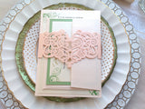Blush Laser Cut Invitation Belly Band-Logie Paperie Shop