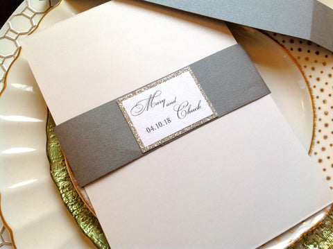Wedding Invitation Belly Band with Free Glitter Border Monogram-Logie Paperie Shop