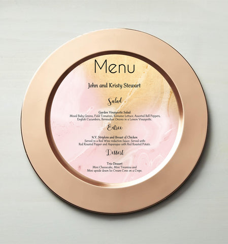 Round Charger Menu | Blush Gold Marble Round Menu Card-Logie Paperie Shop