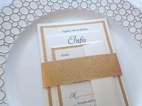 Glitter Wedding Invitations-Logie Paperie Shop