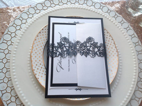 Black Laser Cut Invitation Belly Band-Logie Paperie Shop