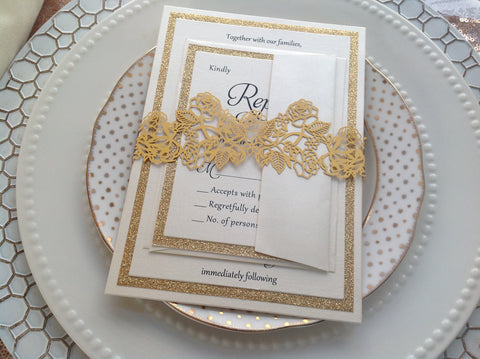 Gold Laser Cut Rose Invitation Belly Band-Logie Paperie Shop