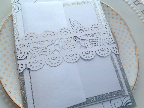White Laser Cut Lace Invitation Belly Band-Logie Paperie Shop
