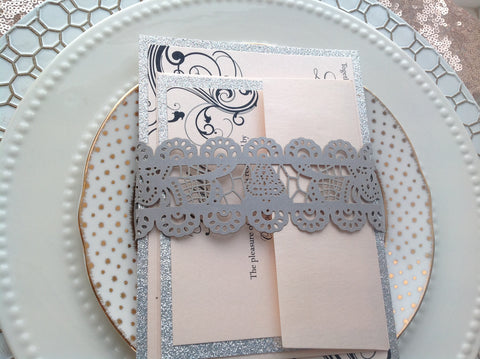 Silver Lace Laser Cut Invitation Belly Band-Logie Paperie Shop