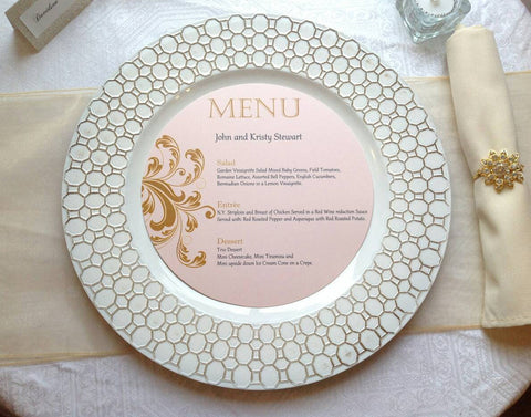 Round Charger Menu Card | Blush and Gold Circle Menu Cards-Logie Paperie Shop